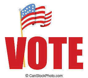 Vote text with USA Flag Vector