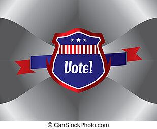 vote, thème, élection, étiquette