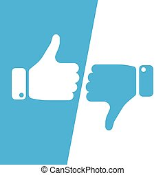 Vote thumbs up icon in blue and white inverse fields. Make a choice, yes or no, love it or hate it, like or dislike win or loss. Vector illustration