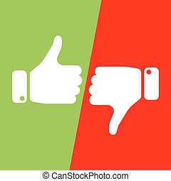 Vote thumbs up icon in red and green fields. Make a choice, yes or no, love it or hate it, like or dislike win or loss. Vector illustration