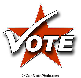 Vote, tick and star - A Voting illustration in Red and white...