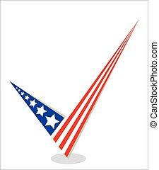 Vote tick the American flag