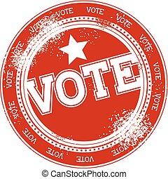 vote, timbre, vecteur, grunge