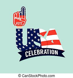 Vote USA Celebration Flag Vector