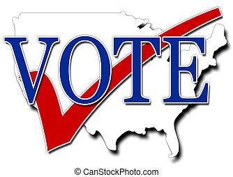 Vote USA - Red White and blue illustration encouraging...