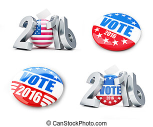 vote usa election badge button for 2016 background. 3d...