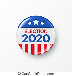 vote, vecteur, bouton, design., 2020, amérique, présidentiel...