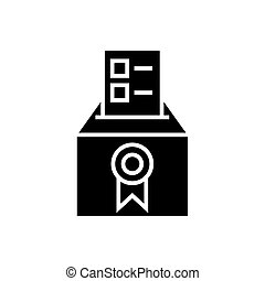 vote - voting - elections - poll icon, vector illustration, black sign on isolated background