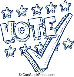Vote with check mark sketch - Doodle style vote in the...
