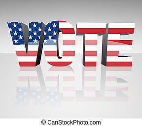 VOTE with flag wrapped over it to promote voting in the ...
