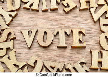 Vote word made with wooden letters