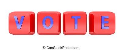 VOTE written in blue on red computer keys.