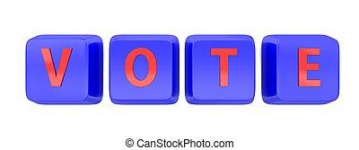 VOTE written in red on blue computer keys.