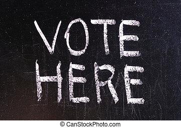 Vote written on blackboard in chalk and underlined.