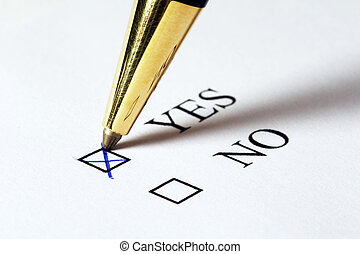 Vote YES - Tickbox with a blue cross on YES an a golden...