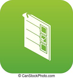 Voted paper icon green vector