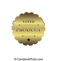 Voted product label, simple style