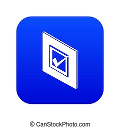 Voted sign icon blue