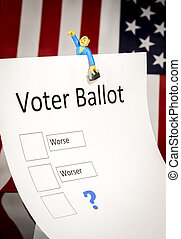 Voter Ballot form with American Flag