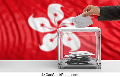 Voter on a Hong Kong flag background. 3d illustration -...