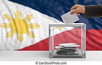 Voter on a Philippines flag background. 3d illustration -...