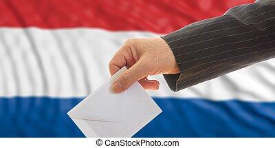 Voter on Netherlands flag background. 3d illustration