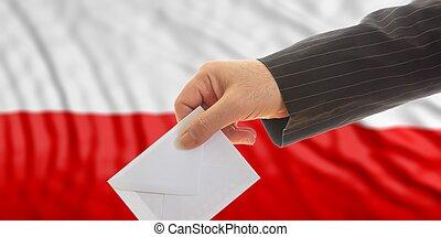 Voter on Poland flag background. 3d illustration
