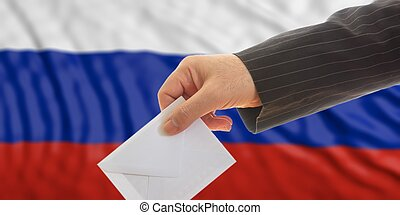 Voter on Russia flag background. 3d illustration