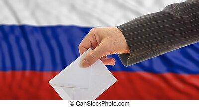 Voter on Russia flag background. 3d illustration