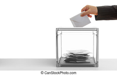Voter on white background. 3d illustration - Ballot box on...