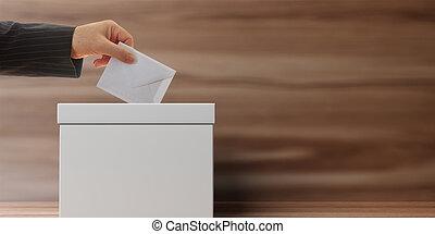 Voter on wooden background. 3d illustration