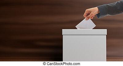 Voter on wooden background. 3d illustration - Ballot box on...