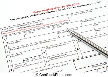 Voter Registration Application with Silver Pen - A United...