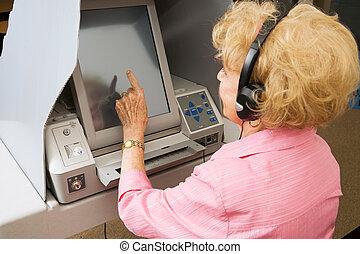 votes, écran tactile, personne agee, dame
