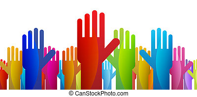 Votes - Colorful hands expressing their vote or decision.