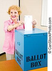 votes, femme, -, personne agee, élection