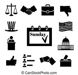 Voting and elections black vector icons. Politic and ballot,...