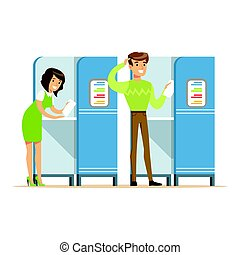 Voting booths with man and woman casting their ballots vector Illustration