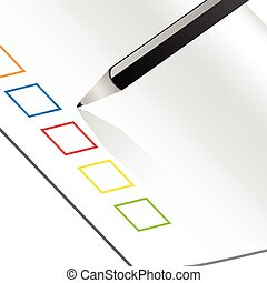 voting card - sheet of paper with colored boxes and a pen