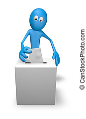 voting - cartoon guy and vote box - 3d illustration
