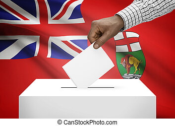 Voting concept - Ballot box with Canadian province flag on ...