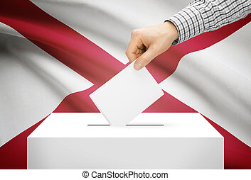 Voting concept - Ballot box with national flag on background - Alabama