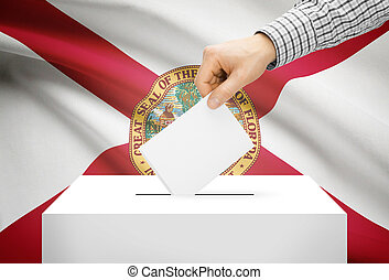 Voting concept - Ballot box with national flag on background - Florida