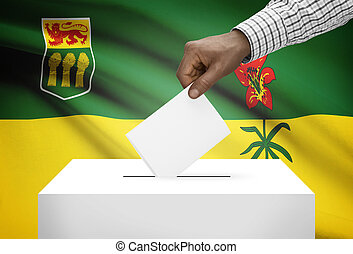 Voting concept - Ballot box with Canadian province flag on background - Saskatchewan