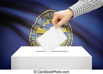 Voting concept - Ballot box with national flag on background - Nebraska