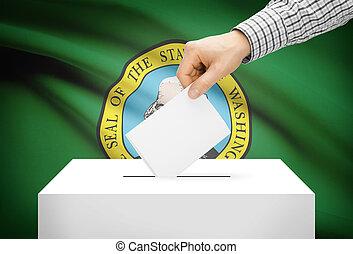 Voting concept - Ballot box with national flag on background - Washington