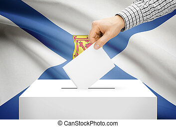 Voting concept - Ballot box with national flag on background - Nova Scotia
