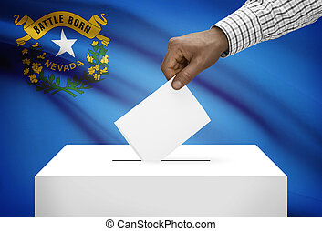 Voting concept - Ballot box with US state flag on background - Nevada