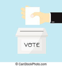 Voting concept by Hand putting paper in the ballot box