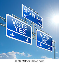 Voting concept. - Illustration depicting a highway gantry...